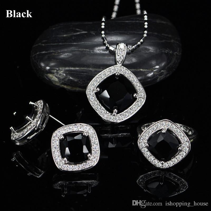 New Fashion Elegantes Weißes Gold Überzogen CZ Ohrringe Ring Halskette Schmuck Set für Braut 3 in 1 Hochzeit Halskette Set für Frauen