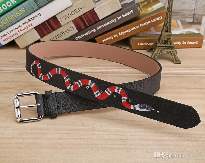Nova cor preta de Luxo de Alta Qualidade Cintos de Grife de Moda cobra padrão animal fivela cinta cinto das mulheres dos homens ceinture para o presente