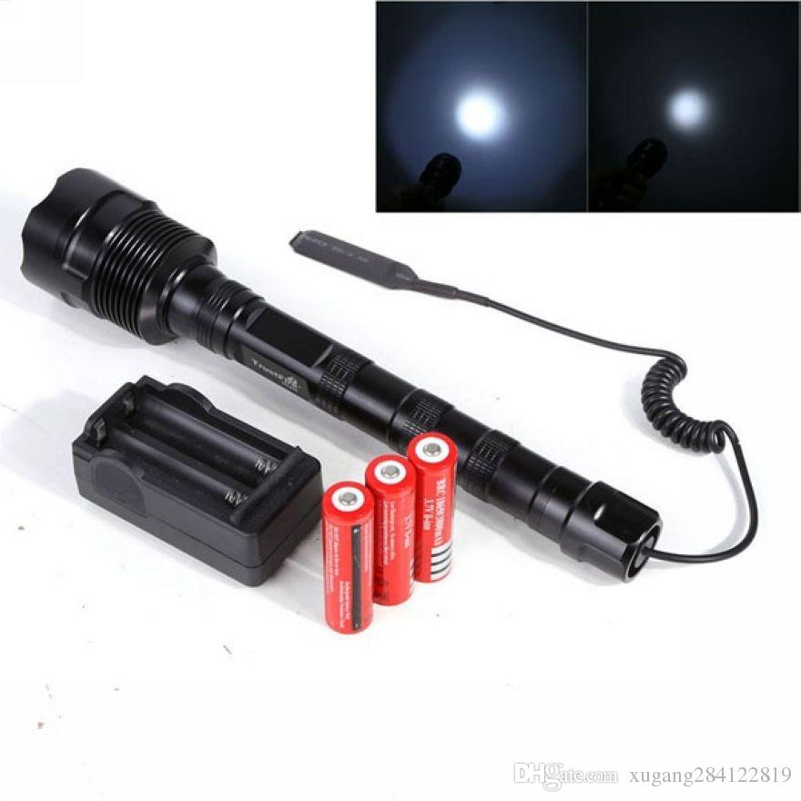 3800Lm Powerful XML 3xT6 3T6 LED Tactical Flashlight Lantern 5Mode Torch+18650 Battery+Charger+Remote Switch+Gun Mount