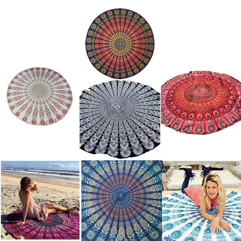 Telo mare Rotonda Donne Cover Up Sexy Beach Wear Pareo chiffon della Boemia orologio Swimsuit Cover Up Style Bathing tunica i 2.807.013