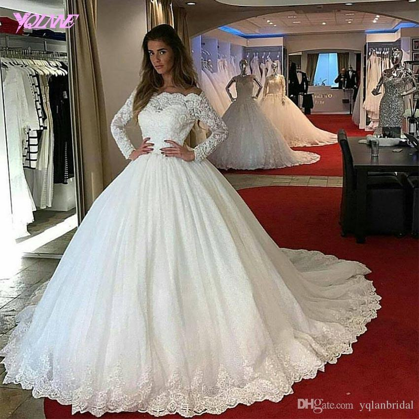 Ivory Lace Bodice Ball Gown Wedding Dress With Sheer Long: Off Shoulder Long Sleeve Wedding Dress Ball Gown Ivory