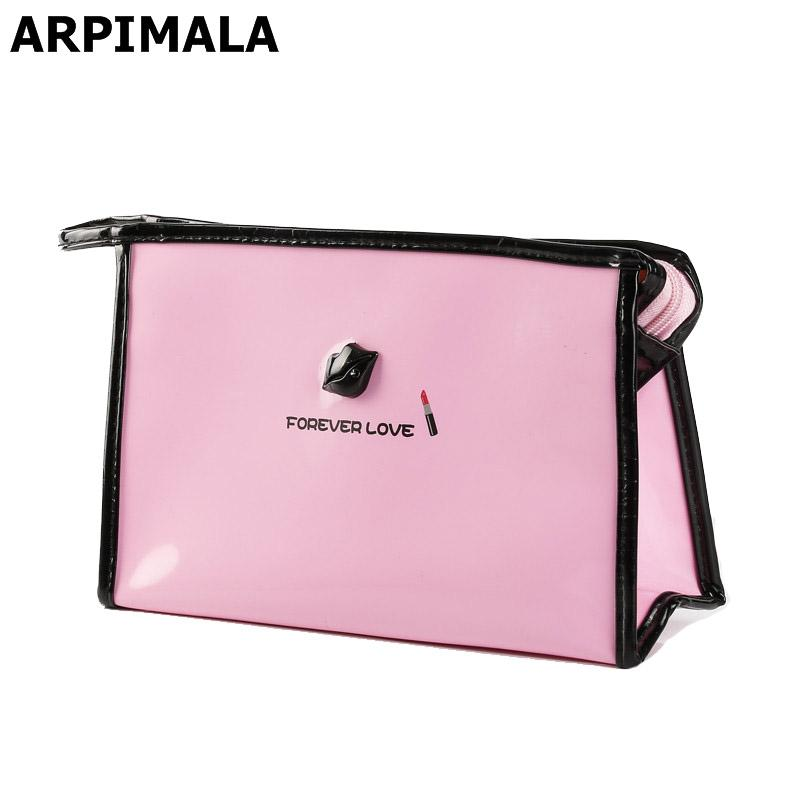 2019 Wholesale ARPIMALA Cute Women Makeup Bag Patent Leather Cosmetic Bag  Girls Travel Make UP Case Beauty Pouch Toiletry Bag Pink Bath Storage From  Wearbag ... b6e36ee1ea