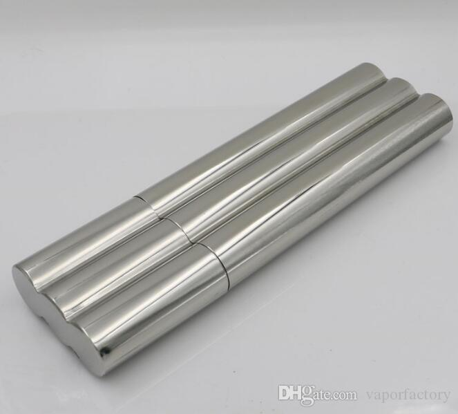 stainless steel mirror polished 3 cigar tubes holder Cigar Classic business man Humidor Tube smoking gift Portable Travel Case accessories