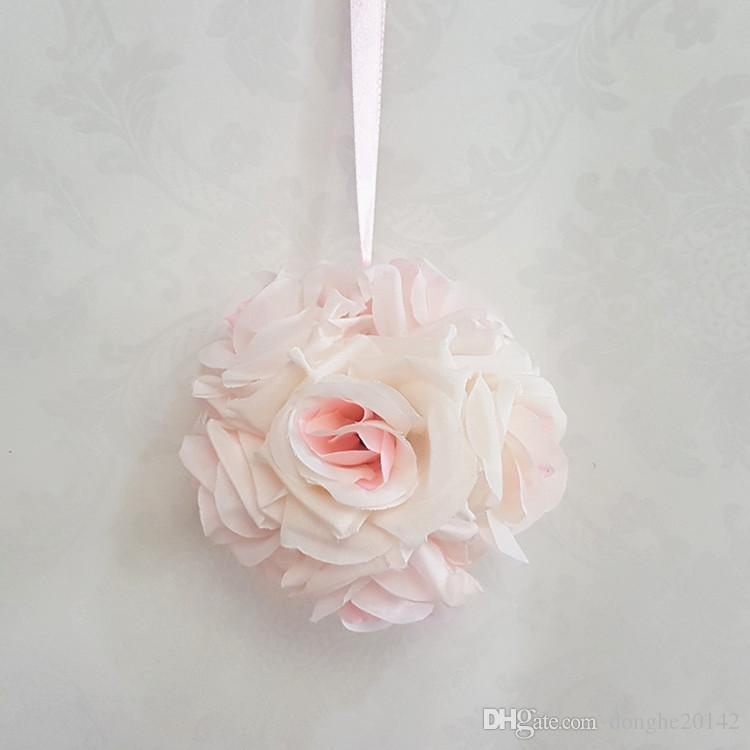 10CM New Artificial Encryption Rose Silk Flower Kissing Balls Hanging Ball Christmas Ornaments Wedding Party Decorations