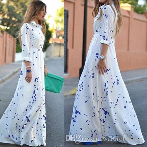Nuevas mujeres Sexy Summer Boho Evening Party Long Maxi Beach Dress Vestidos de gasa Impresión dot Bohemian vestido largo One Piece vestido de falda larga