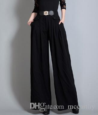 Pantalón ancho para mujer cintura elástica tallas grandes negro verde cintura alta primavera otoño nueva moda pantalones largos sueltos mujer yys0702