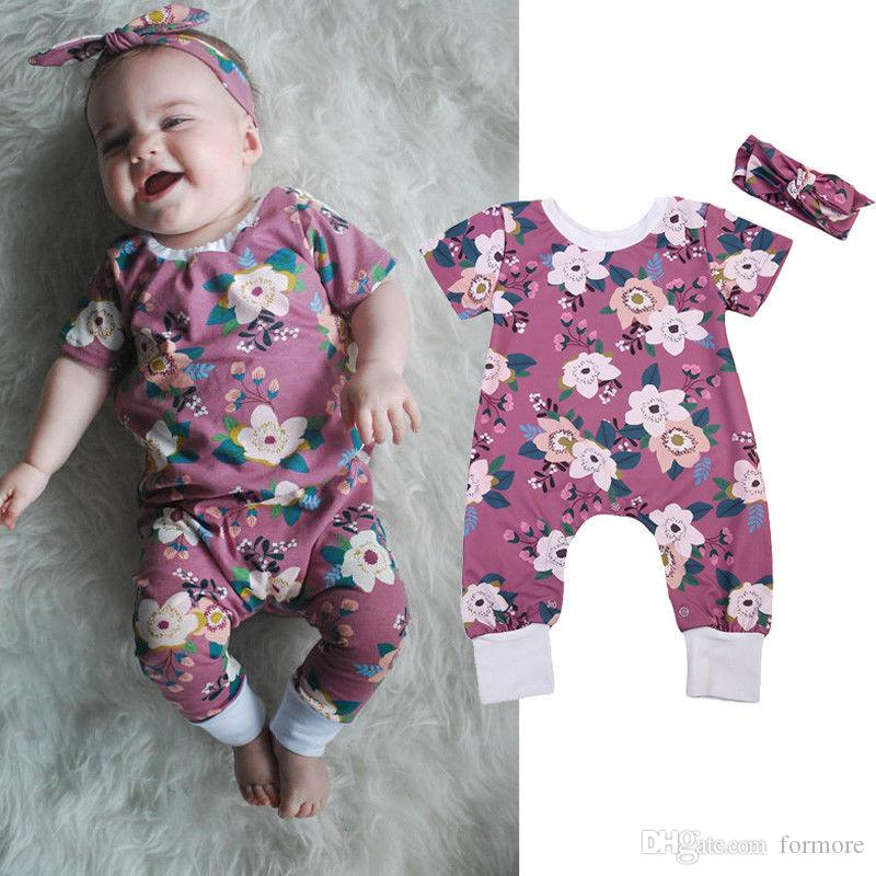 Baby Girl Romper Set Floral Jumper Toddler Outfit Boutique Clothing Suit Kids Summer Bodysuit Onesies+Headband Cotton Climb Clothes