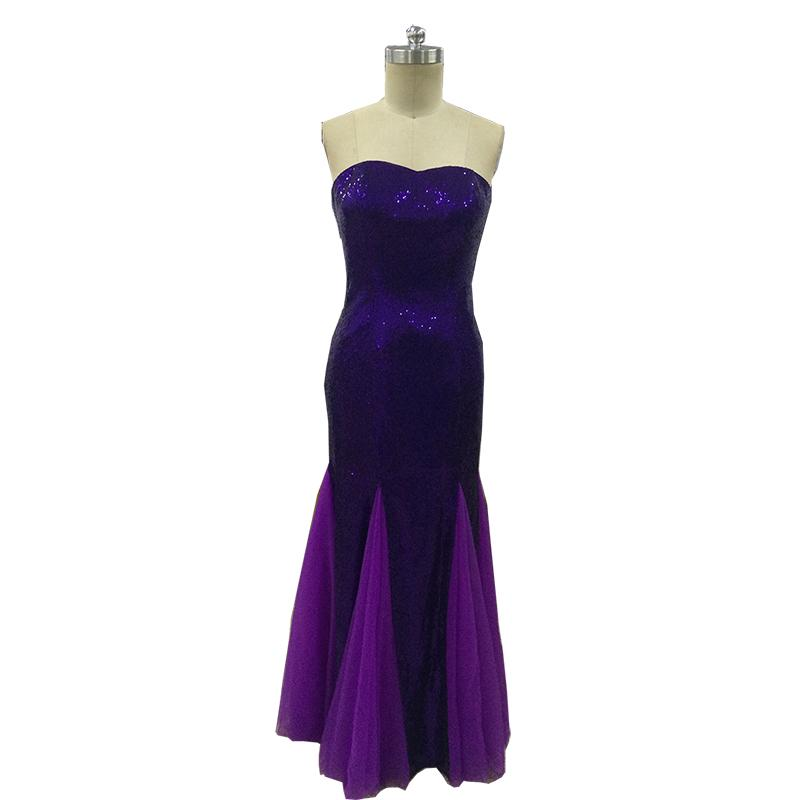 Vinoprom Real Photo Sweetheart Custom Made Mermaid senza spalline Tulle Viola Sequiend Bridesmaids Party Abiti formali 2018