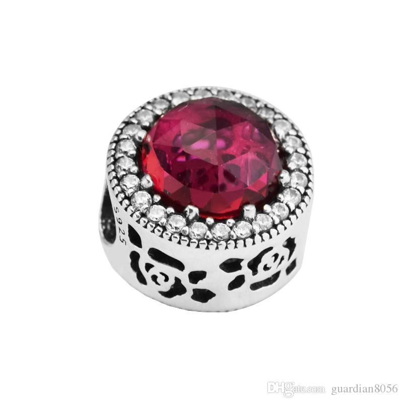 Sterling-Silver-Jewelry Beads para hacer joyas DIY Fit Pandora Bracelets PerLas Charms Belle's Radiant Rose BerLoQue Perles