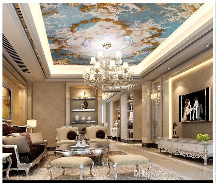 Luxury European Ceiling For Modern Home: High Quality Custom 3d Ceiling Wallpaper Murals Wall