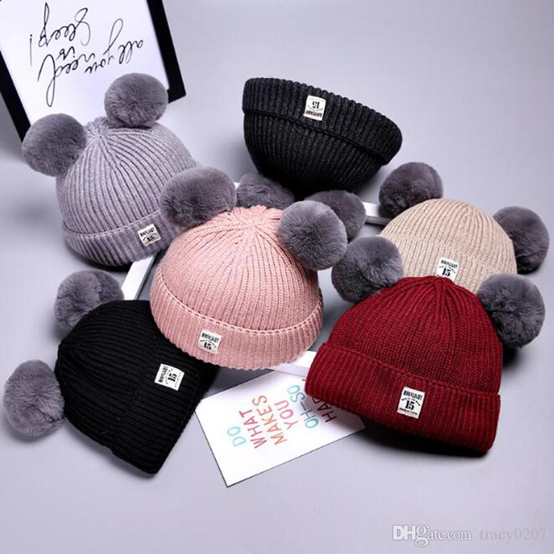 Boys' Baby Clothing Cute Baby Child Girls Boys Winter Warm Thicken Knitted Hairball Solid Hats Beanie Cap Unisex