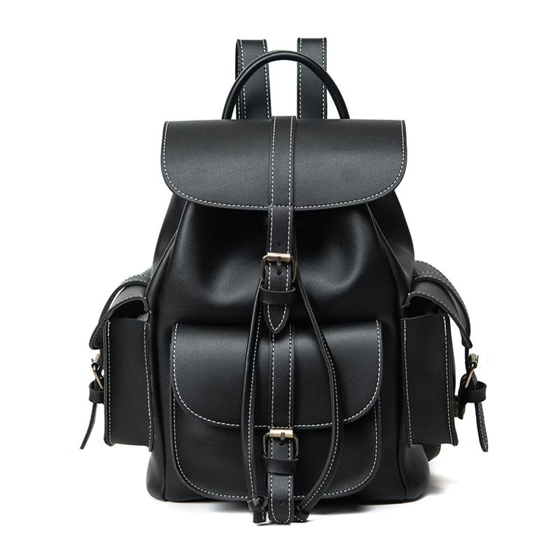 Wholesale Fashion Middle School Designer Leather Backpacks Black ...