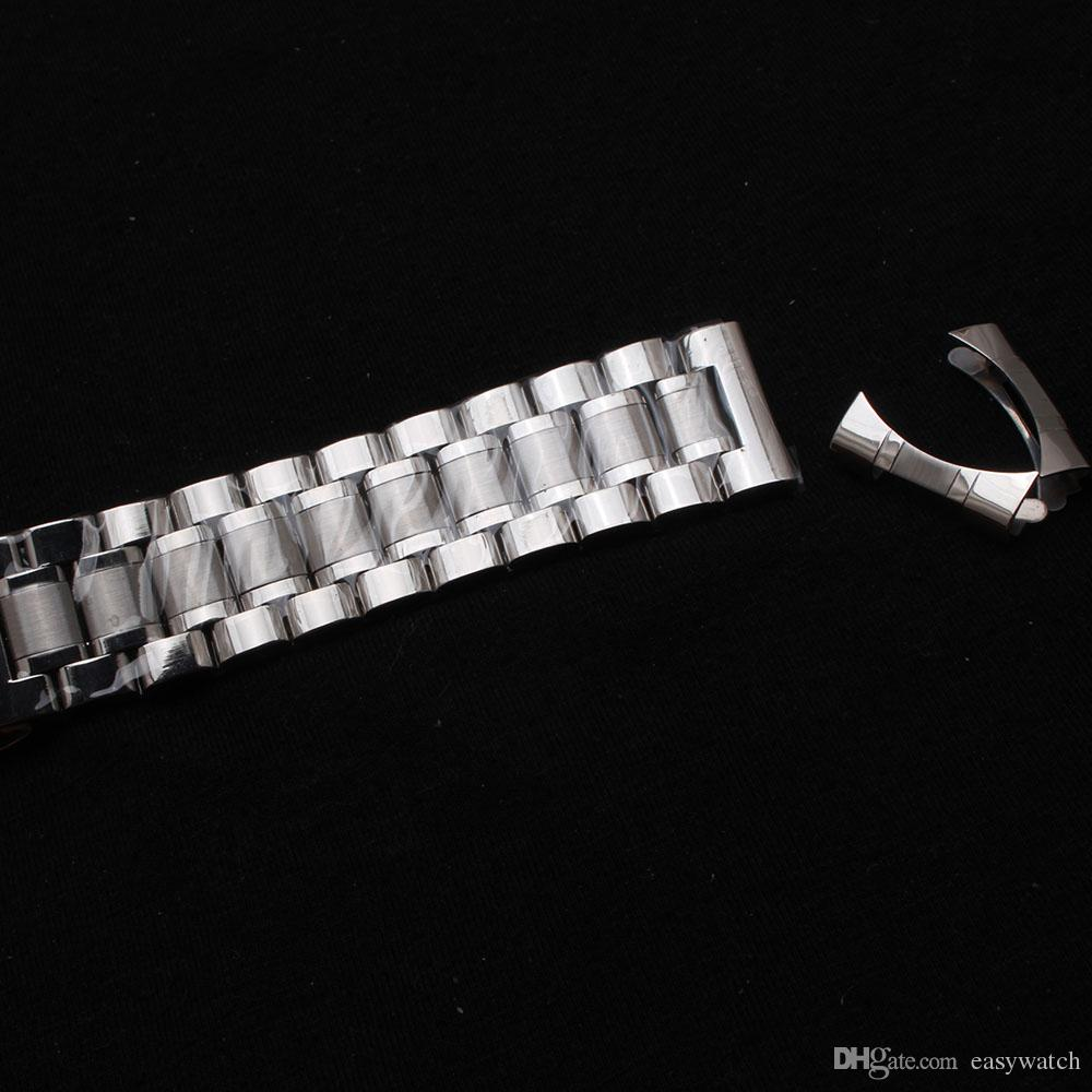 Watchbands 14mm 15mm 16mm 17mm 18mm 19mm 20mm 21mm 22mm Silver stainless steel with curved ends straight end special watches strap bracelets
