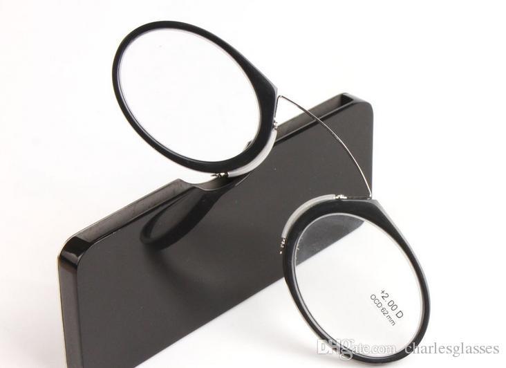 Klein SOS Clip-Nase Lesebrille für Männer / Frauen Snap-in Presbyopie Brille mit original Fall schwarz