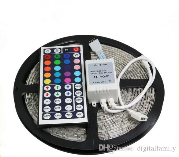 Barato RGB llevado tira impermeable 5M 3528 SMD 300 LEDs / Roll + 44 teclas IR Remote + 12V 2A adaptador de corriente caliente Cool Blanco Home Automobile Decoración