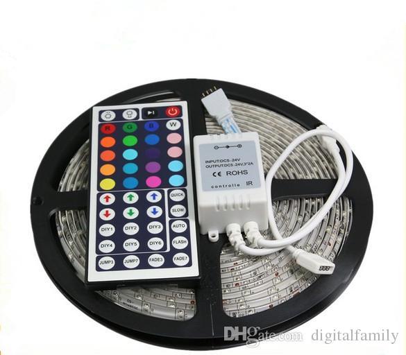 RGB Led Streifen Licht Wasserdicht 5M SMD 3528 300 LEDs / Roll + 44 Tasten Fernbedienung + 12V 2A Stromversorgung US EU UK AU Stecker Party Dekoration