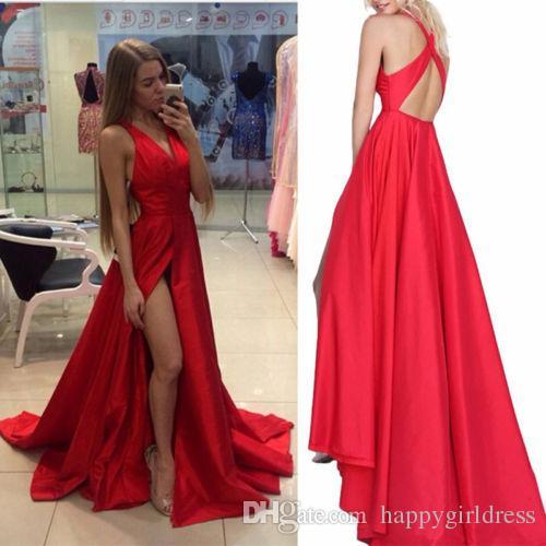 Сексуальный Красный Пром Платье V Шеи Тафта Вечерние Платья 2017 Новый V Шеи С Плеча Стороны Щели Пром Платья