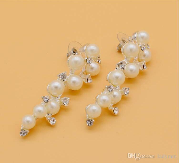 Neue Verkauf Kristall Strass simulierte Perle Trauben Trauben Design Mädchen Ohrringe Ohrstecker Modeschmuck Frauen Geschenk