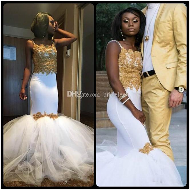 Sexy Mermaid White And Gold African Prom Dresses With Tulle Puffy Skirt  Spaghetti Straps Lace Corset Arabic Vestido De Festa Curto Formal Short  Dresses ... 01e2a8c6c7f8