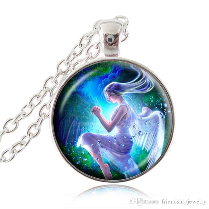 Collana con angelo alato Collana con ciondolo in vetro Fascino con pendente in vetro Collana con ciondolo di moda Collana lunga con accessori le ragazze