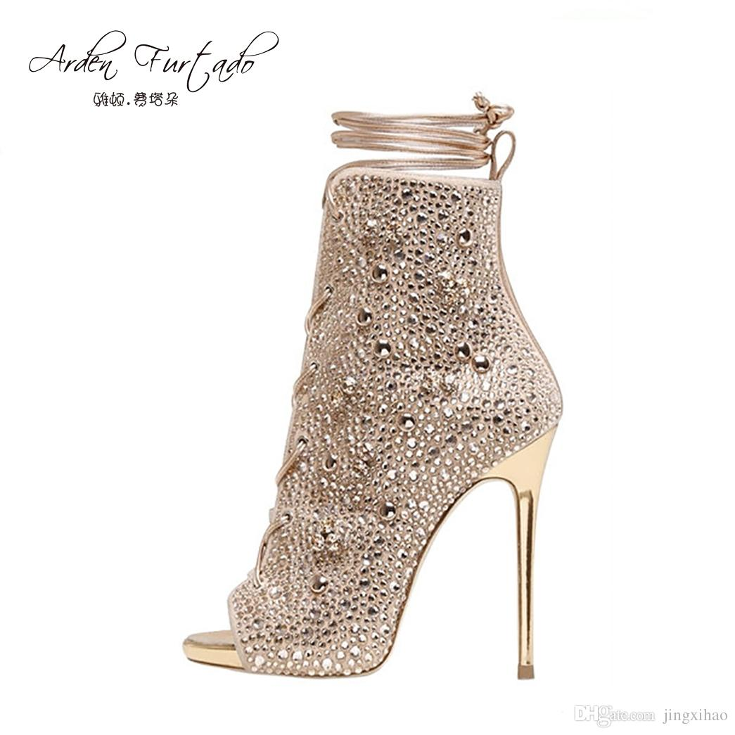 2a7067fd8b67 2017 Strappy Short Ankle Boots High Heels Peep Toe Crystal Shoes Sandals  Handmade Ankle Strap Custom Women Party Dress Stiletto Summer Canada 2019  From ...