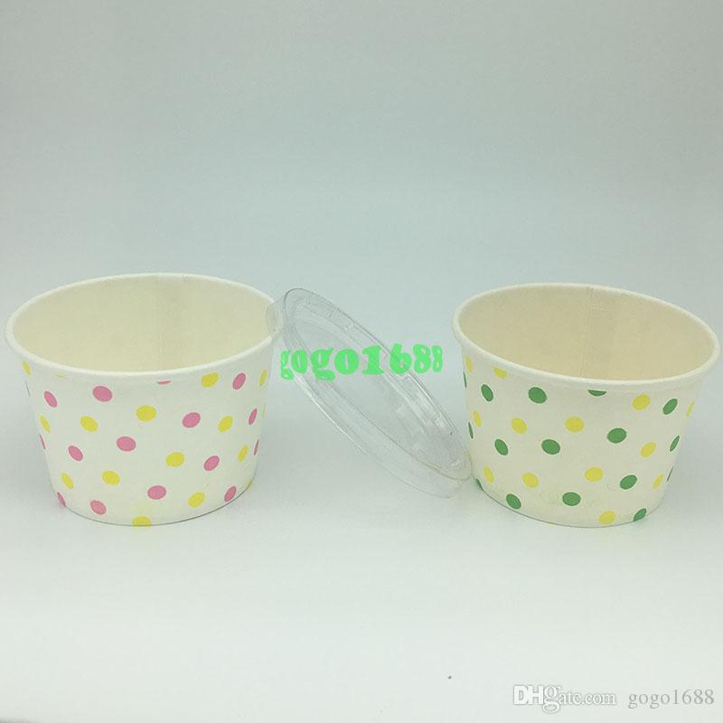 15pcs Polka Mixed Dot Round paper Cupcake Case Ice Cream Cups With Lid by Greaseproof Dessert Baking Cups