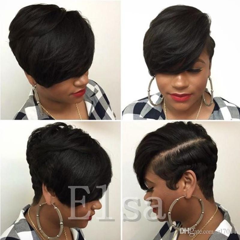 Short cut none lace human bob wigs best human brazilian cheap wig with baby hair glueless wigs with bangs for black women