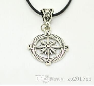 árvore Vintage Prata Clover asas de anjo Pentagrama Vida Knot Anchor Compass encantos de couro colares Pendant Marca Choker For Women Jóias