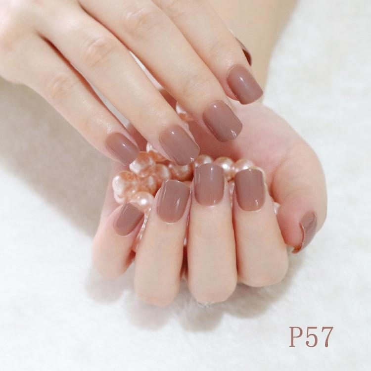 Wholesale Fashion Acrylic Nails Light Brown Simple Design Artificial