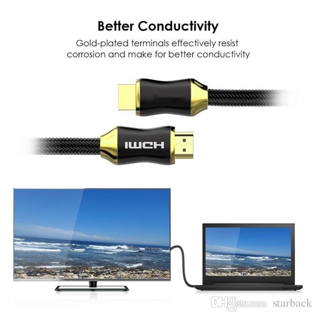 HDMI Kablosu Serisi HDMI 2.0 Kablo 4 K 3D 1.5 M 5FT Erkek HDTV LCD Dizüstü PS4 Bilgisayar için Erkek Altın Kaplama