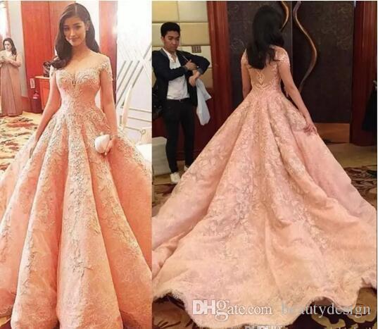 2018 New Design Blush Luxury Prom Dresses Vestidos De Fiesta Sheer ...