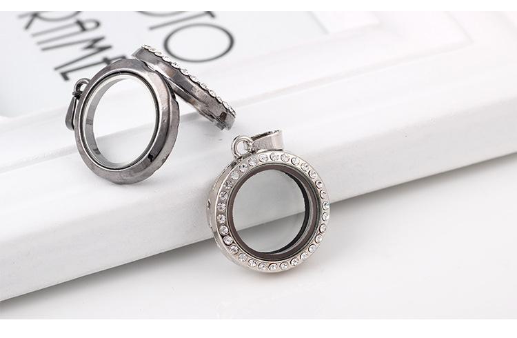 Mode 25MM Runde Living Memory Medaillon hochwertige weiße Kristalle Strass Floating Glas Medaillons Anhänger Charme Fit Halsketten Schmuck