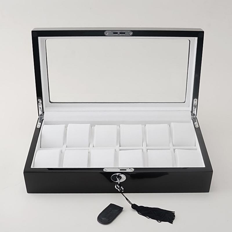 Luxo preto várias camadas de madeira de alto brilho acabamento laca de piano 12 Slots Watch Box Display Case Jóias Organizador De Armazenamento Caixa De Armazenamento