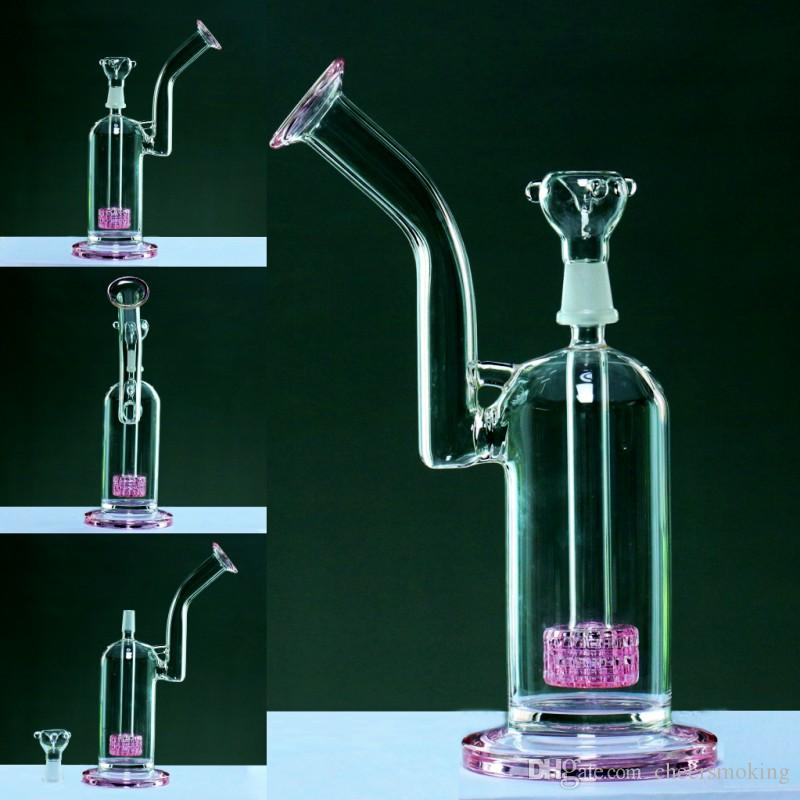 pink 28cm Glass water pipes 14.4 Joint glasss bong bubbler bongs scientific pipe recycler two function dab oil rigs durable 500g Hookahs