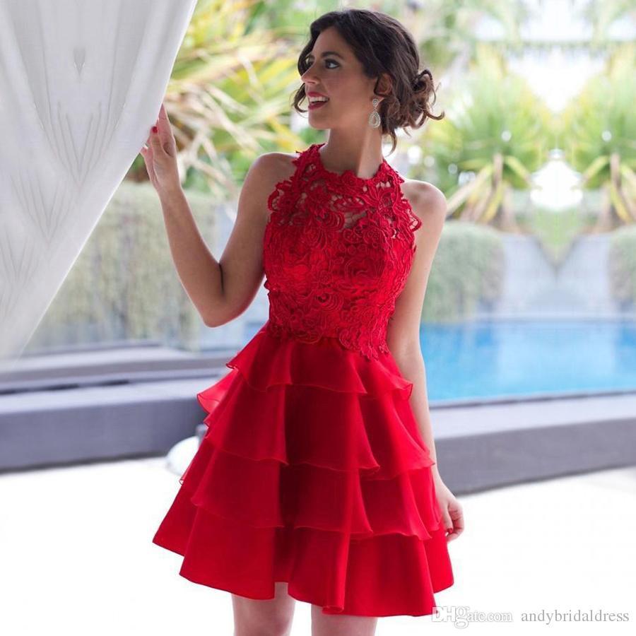 2019 Red Short Homecoming Dresses Halter Lace Appliqued Dress para la fiesta de Homecoming High School con una falda de organza en capas ADH001