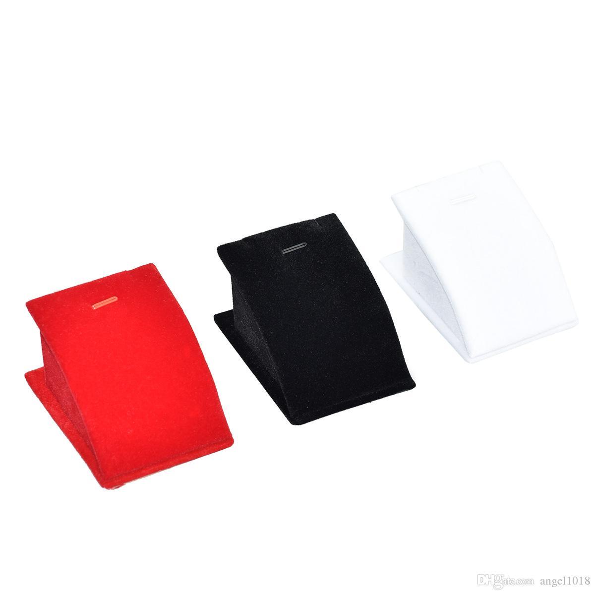 Argositment White Red Black Velvet Mini Necklace Pendant Jewelry Display Rack with Hook10 pack