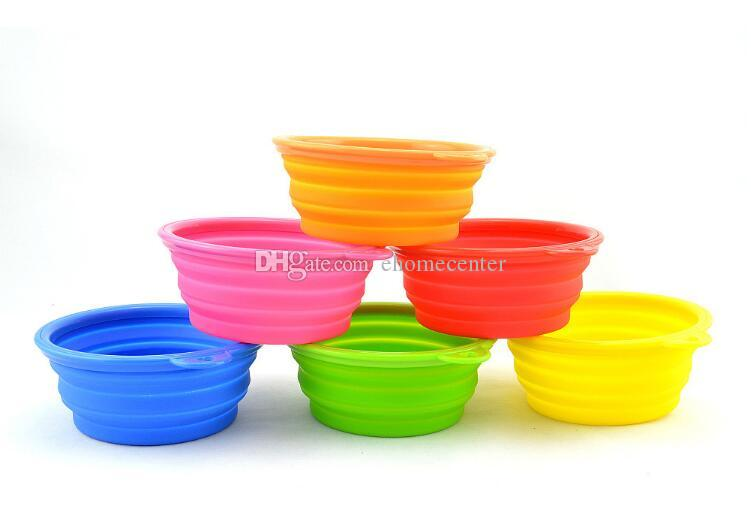 Dog Cat Fashion Colorful Silicone Collapsible Feeding bowls for Pet Dog Water Feeder Bowl Pet Supplies Travel Dish Folding Dog Bowl PD011