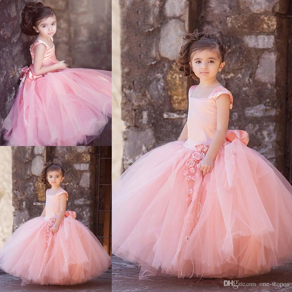 Vintage Blush Pink Tulle Ball Gowns Flower Girl Dresses For Wedding ...