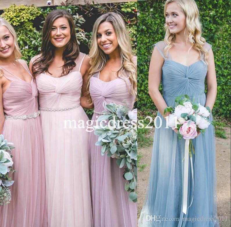 Chic Blue Pink 2019 Beach Bohemian Bridesmaid Dresses A-Line Sheer Straps Sweetheart Maid Of Honor Sexy Boho Party Gowns Cheap for sale