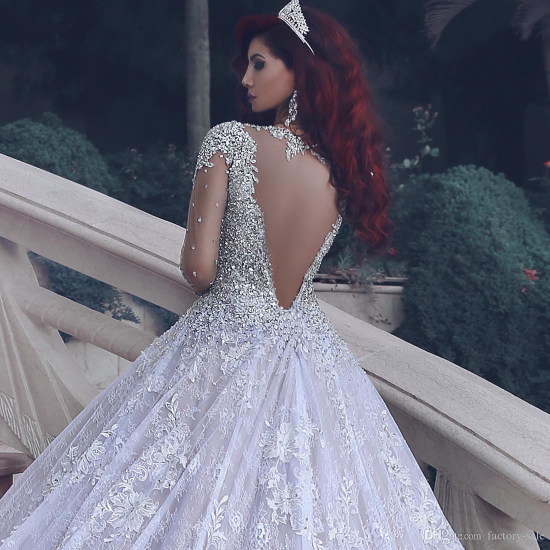 Luxus Perlen Kristalle Arabisch Dubai Brautkleider Eine Linie Sheer Jewel Neck Long Sleeves Appliques Gericht Zug Sagte Mhamad Brautkleider
