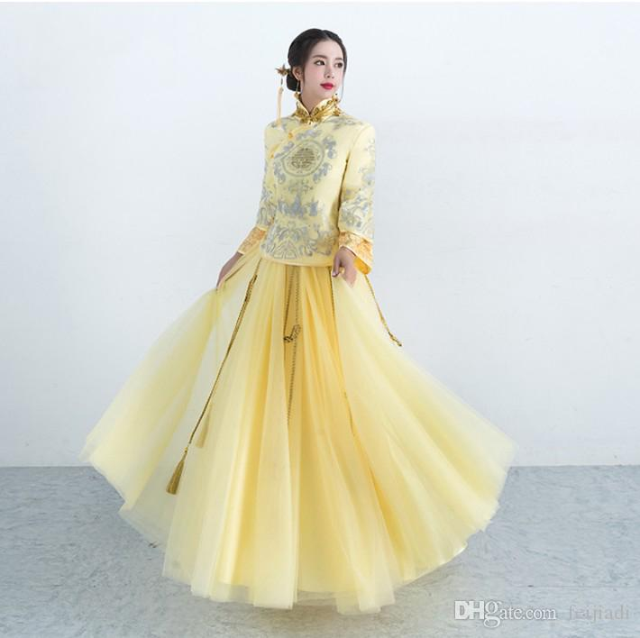 Toast The Bride 2017 New Summer Chinese Wedding Dress Gold Long ...