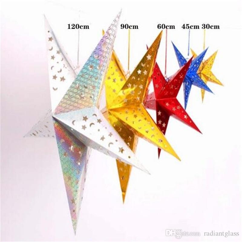Papel de Navidad Star Lantern 3D Pentagram Pantalla para Navidad Fiesta de Navidad Holloween Birthday Home Decoración de Navidad