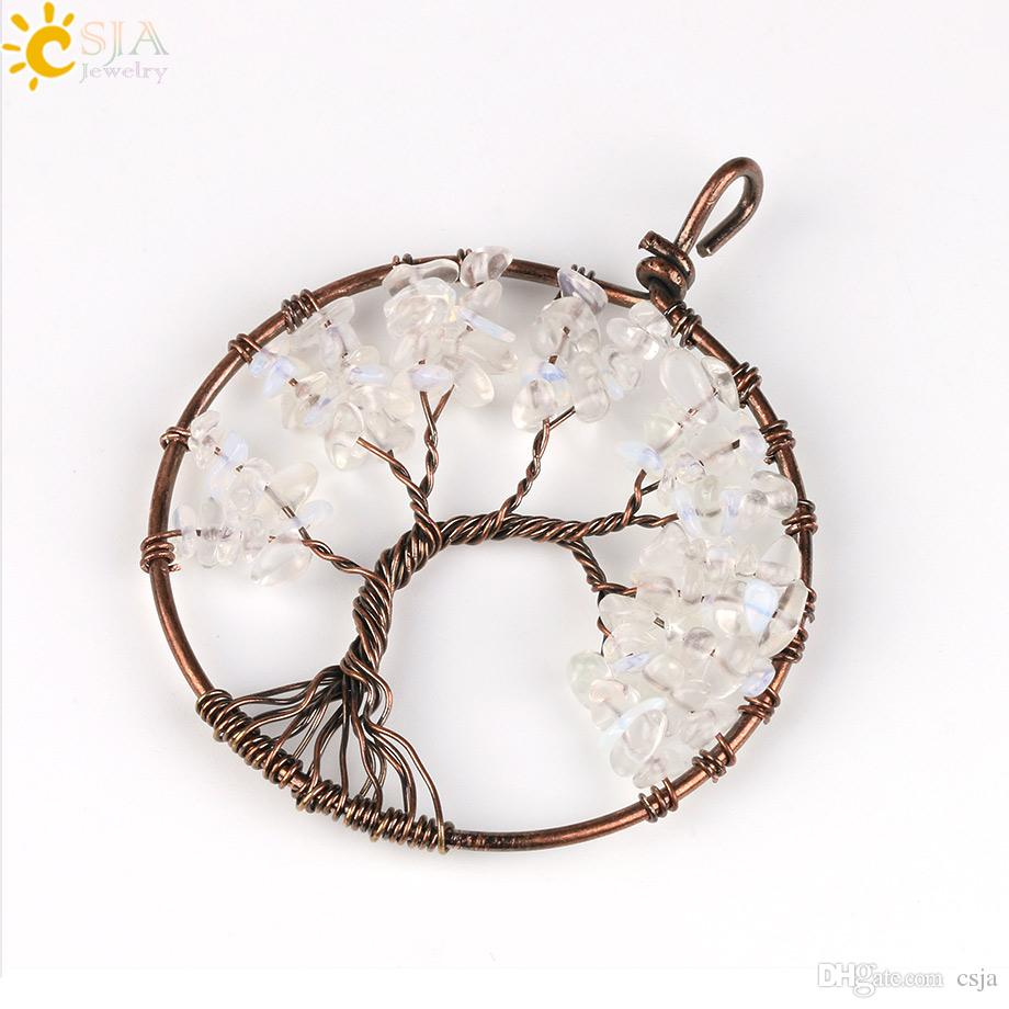 CSJA Tree of Life Necklace Pendants Charms Natural Stone Chip Beads Handmade Wire Wrap Tourmaline Pink Yellow Crystal Opal Jewellery E508 A