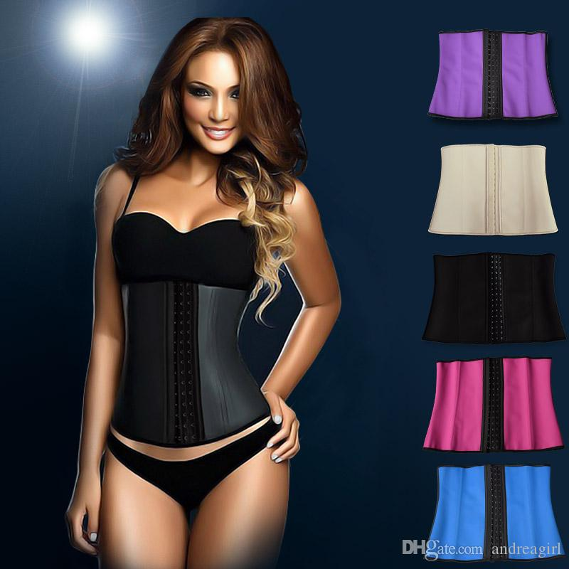 1111c06d3a 2019 2 Layers 9 Steel Boned Latex Waist Trainer Waist Training Corsets  Latex Waist Cincher Slimming 9079 From Andreagirl