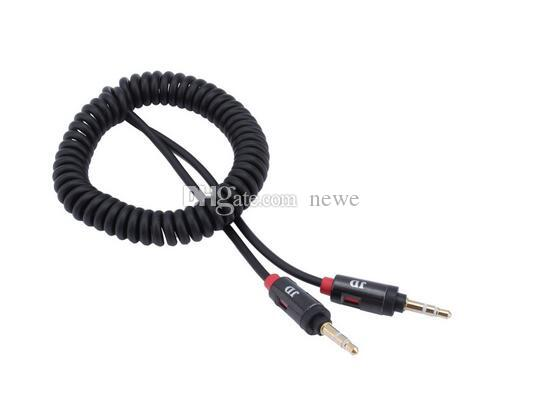 Hot Cell Phone Cables 3.5mm Retractable Vehienlar Aux Cables Mobile Phone Audio Cable Male to Male Spring Cable for Car