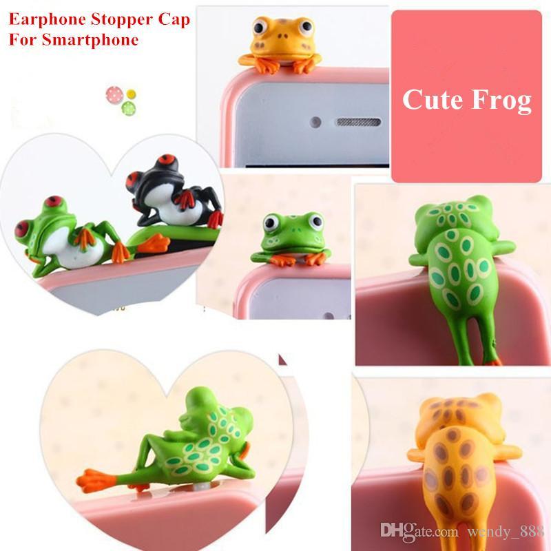 Green Frog PVC Charm headphone 3.5mm Earphone Jack anti dust plug Stopper Cap for iphone samsung lg huawei meizu Sony Smartphone