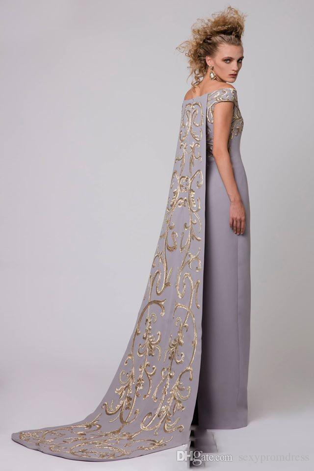 Arábia Árabe De Ombro Vestidos de Noite Com Bordado Longo Trem Cinza Bainha De Cetim Vestidos de Baile Estilo Capa Formal Vestido de Festa Vestidos