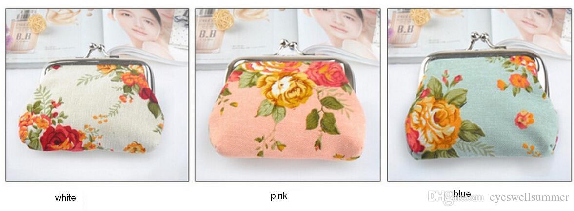 Moda Sıcak Vintage çiçek sikke çanta tuval anahtarlık cüzdan çile küçük hediyeler çanta debriyaj çanta