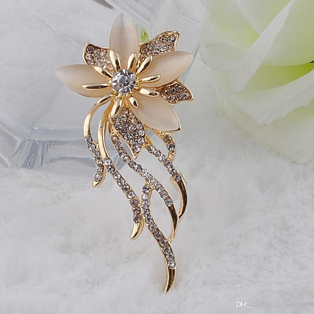Nuova moda gioielli in oro rosa placcato colorato austriaco di cristallo spilla fiore le donne regalo del partito