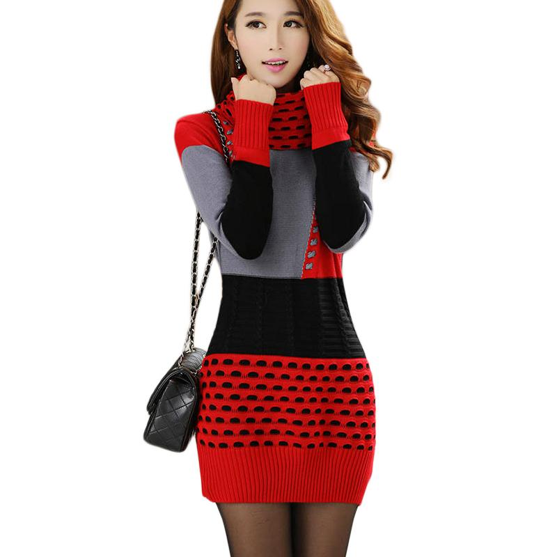 8279aa43be5a 2017 Woman Winter Autumn Knitted Dress Turtleneck Long Sleeve Lady Sweater  Dress Sweaters And Pullovers Plus Size Women Spring Clothing 044 Bride Dress  ...